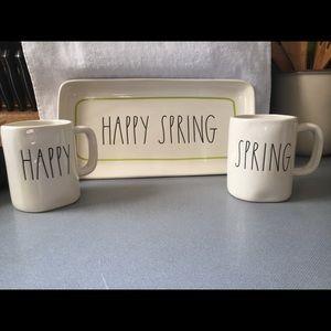 Rae Dunn platter and mugs
